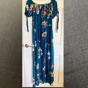 Peacock blue floral maxi dress Band of Gypsies L